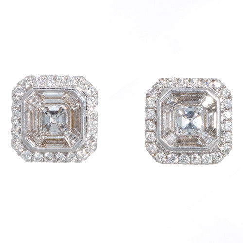 18kt White Gold and Diamond Asscher Cut Earrings