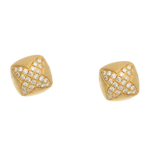 Katie Decker 18kt Yellow Gold Quatrefoil Stud Earrings