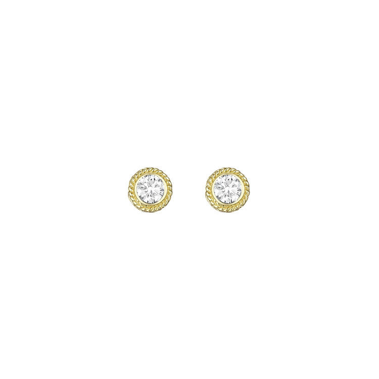 Penny Preville 18kt Yellow Gold Twist Bezel Set Diamond Earrings