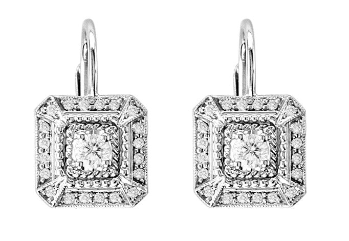Penny Preville 18kt White Gold and Diamond Square Earrings