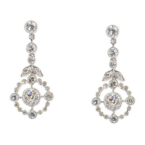 18 Karat White Gold Diamond Drop Earrings