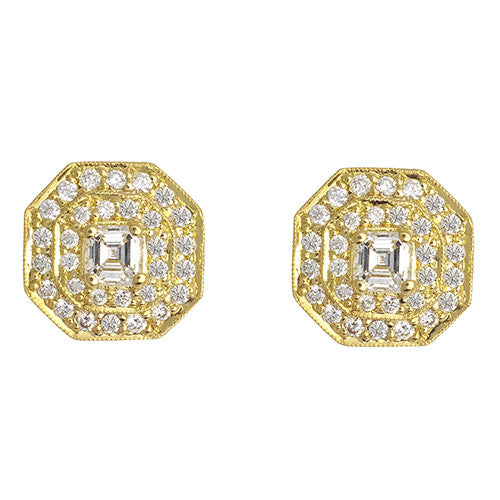 Penny Preville 18 Karat Yellow Gold and Diamond Earrings
