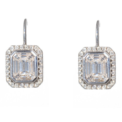 18 Karat White Gold and Diamond Asscher Illusion Earrings with Halo