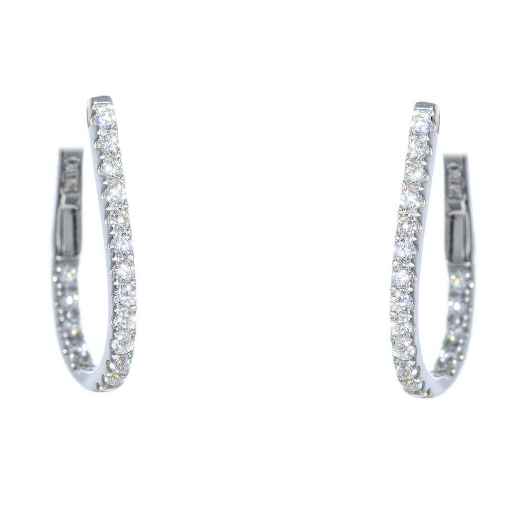 18kt White Gold Medium Oval Diamond Hoop Earring