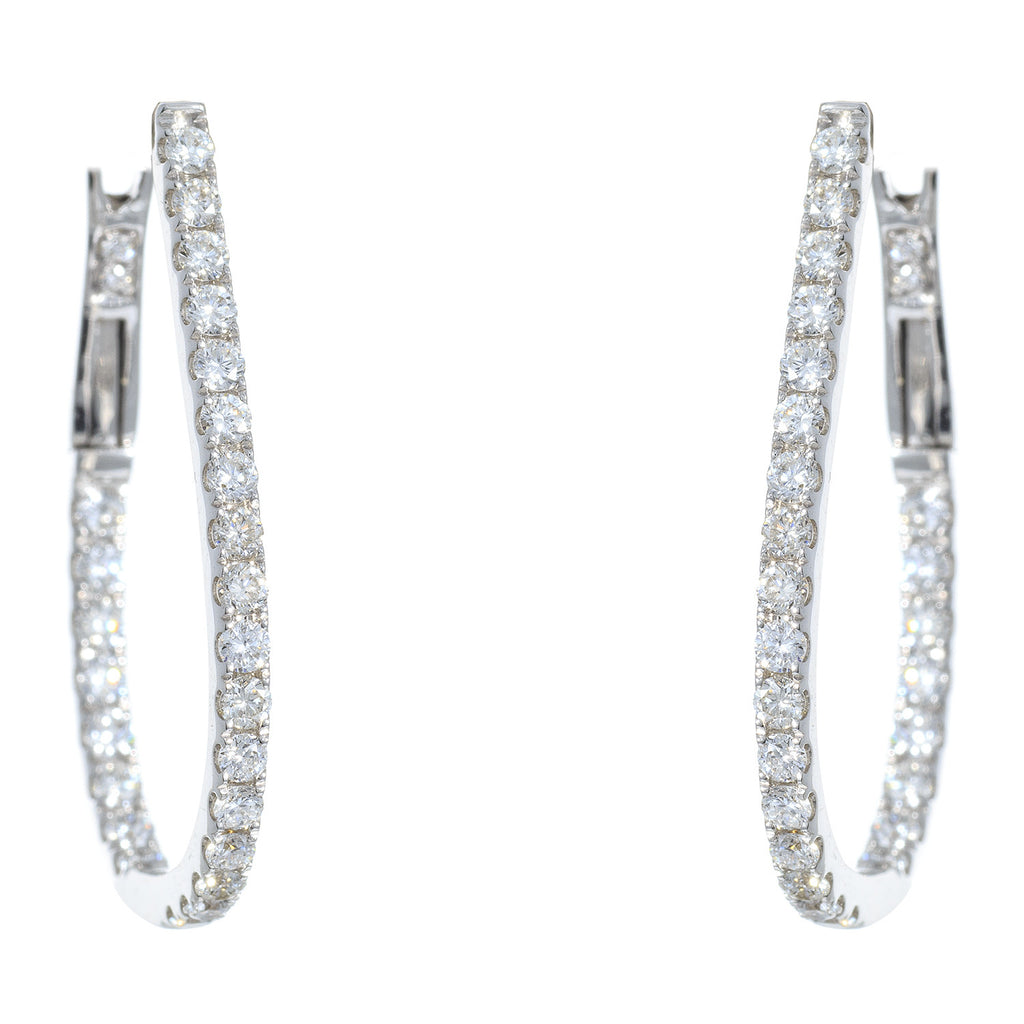 18kt White Gold Large Diamond Oval Hoop Earrings