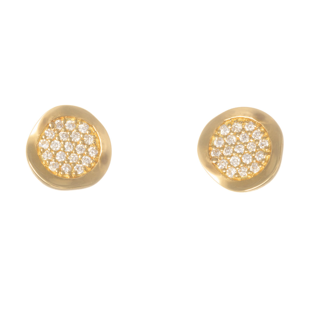 18kt Yellow Gold Small Pave Diamond Round Earrings