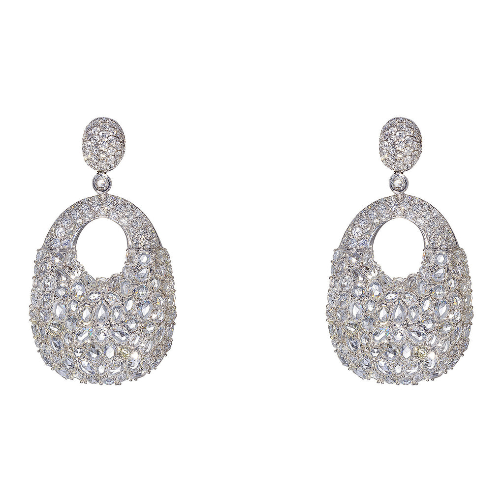 18kt White Gold Pave and Rose Cut Diamond Drop Earrings