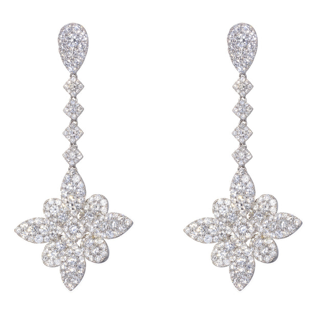 18kt White Gold Diamond Flower Drop Earrings