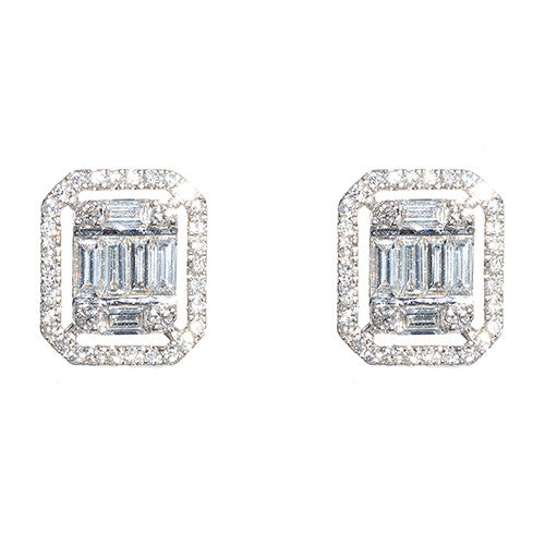 18 karat White Gold Diamond Illusion Earrings with Halo