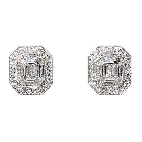 18 karat White Gold Diamond Illusion Earrings