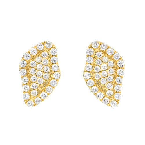 14kt Yellow Gold Pave Diamond Stud Earrings