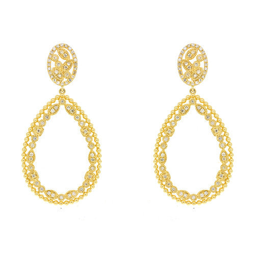 14kt Yellow Gold Fancy Pear Shape Drop Earrings on Post