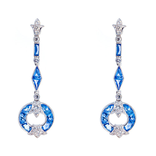 Estate 18k White Gold Sapphire and Diamond Drops