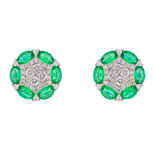 18kt Whtie Gold Emerald and Diamond Earrings