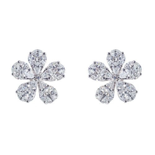 18kt White Gold Diamond Flower Earrings