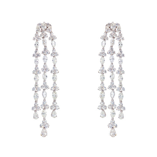 Platinum Antique Drop Diamond Earrings