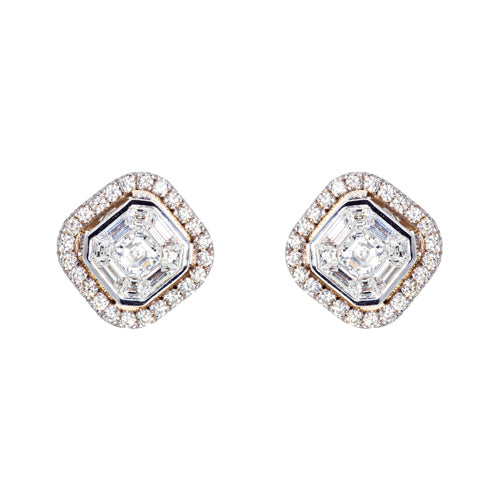 18 karat White Gold Asscher Cut Mosiac Diamond Earrings