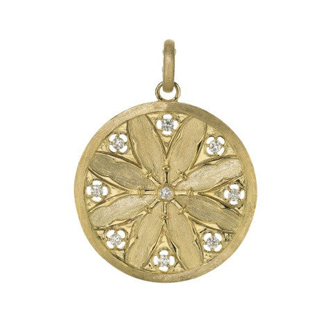 Katie Decker 18kt Yellow Gold Gothic Disc Pendant