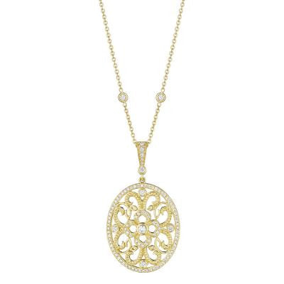 Penny Preville 18kt Yellow Gold Large Oval Lace Diamond and Beaded Enhancer