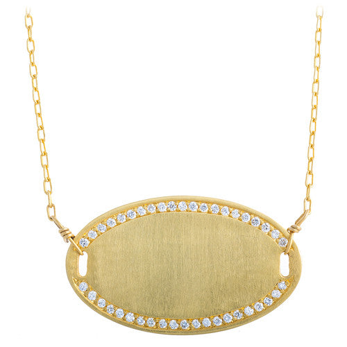 14kt Yellow Gold Oval Pendant with Diamonds