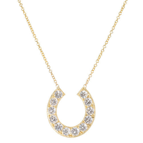 LPL Signature Custom 18kt Yellow Gold Horseshoe Diamond Pendant