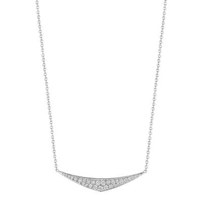 Penny Preville 18kt White Gold Curved Triangular Diamond Pendant