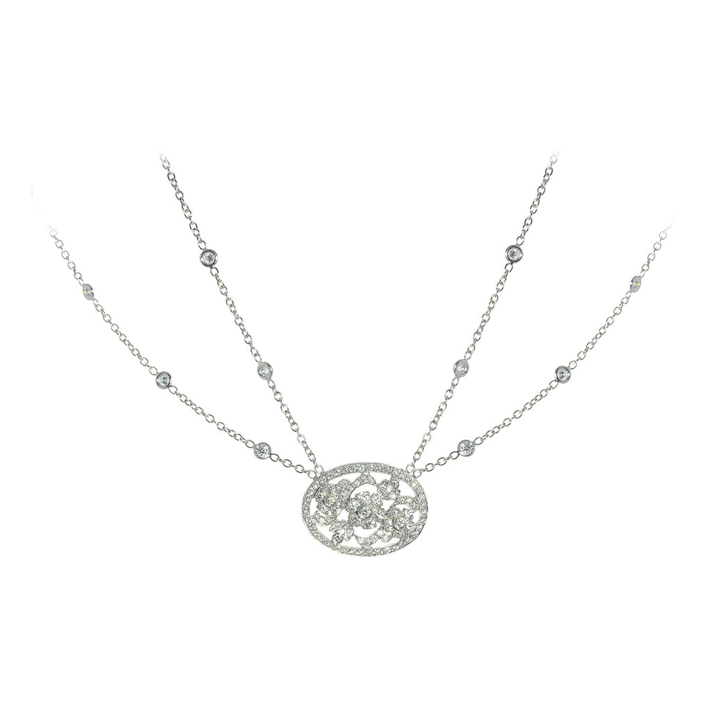 Penny Preville 18kt White Gold Flower Double Chain Necklace