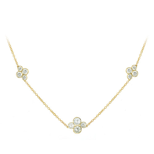LPL Signature Collection 18k Yellow Gold 3 Station Diamond Necklace