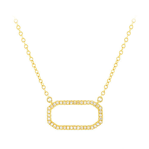14 Karat Yellow Gold and Diamond Rectangular Necklace