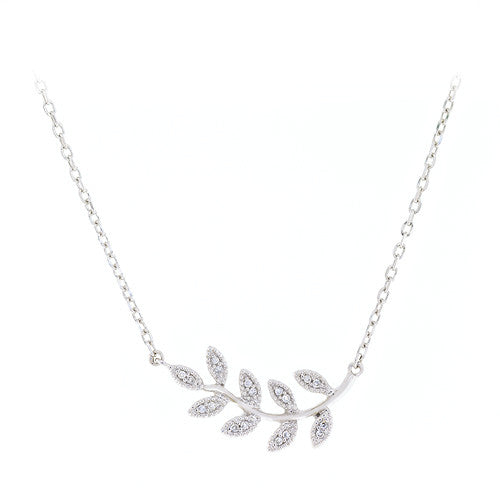 14kt White Gold Small Leaf Necklace