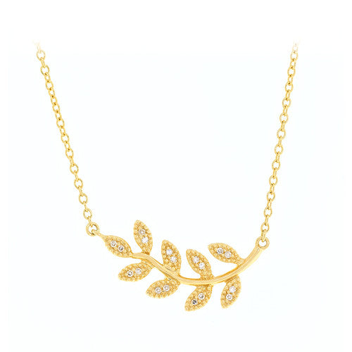 14kt Yellow Gold Small Leaf Necklace