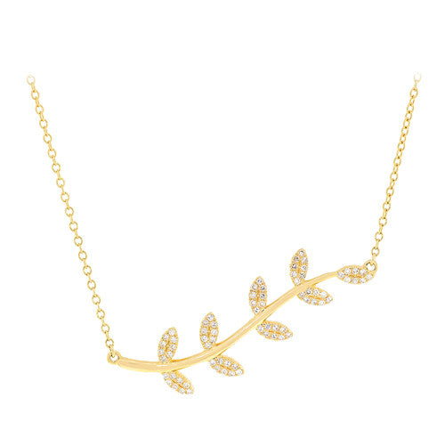 14kt Yellow Gold Large Leaf Necklace