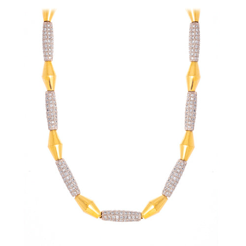 Estate 18k Yellow Gold Diamond Link Necklace