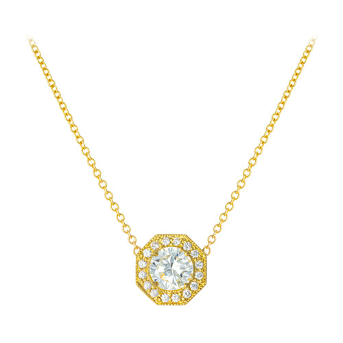 LPL Signature 18k Yellow Gold Diamond Octagon Halo Necklace