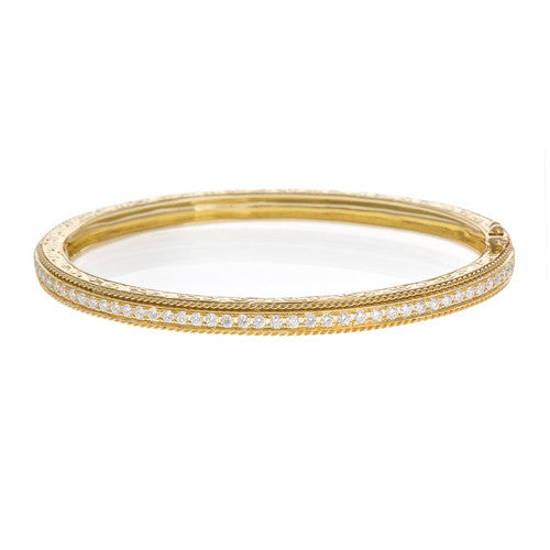Penny Preville 18kt Yellow Gold Pave Hinged Bangle