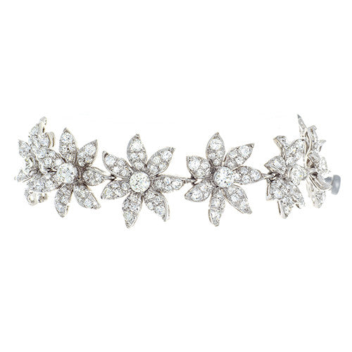 Platinum and Diamond Flower Bracelet