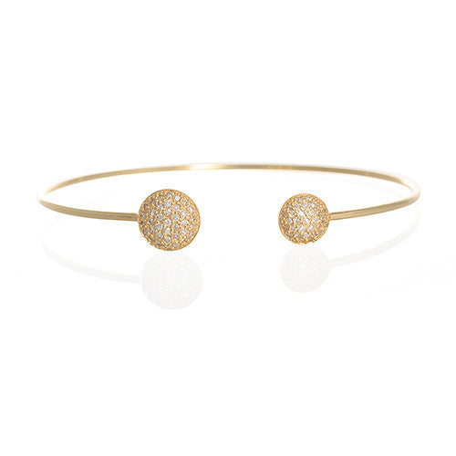 14 Karat Yellow Gold and Diamond Circle Bracelet