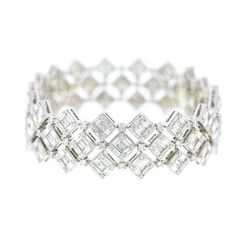18kt White Gold Diamond Baguette Bracelet