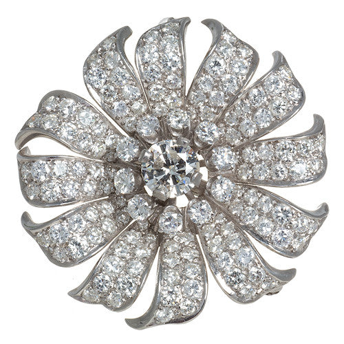 Estate Platinum and Diamond Sun Flower Pin