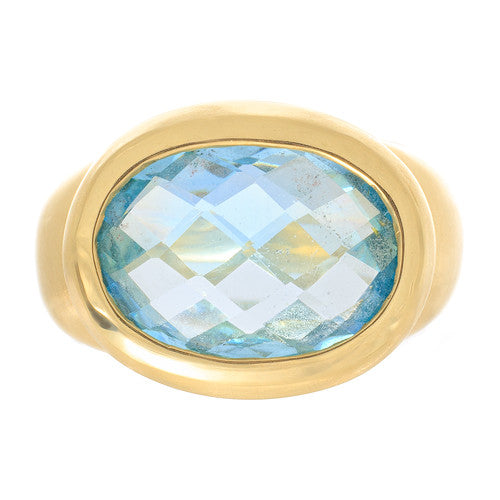 14 Karat Yellow Gold Ring with Blue Topaz