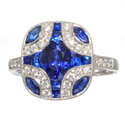 18 Karat White Gold Sapphire and Diamond Ring