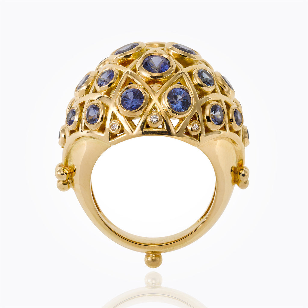 Temple St. Clair 18K Yellow Gold Faceted Lattice Ring with Blue Sapphire and Diamond