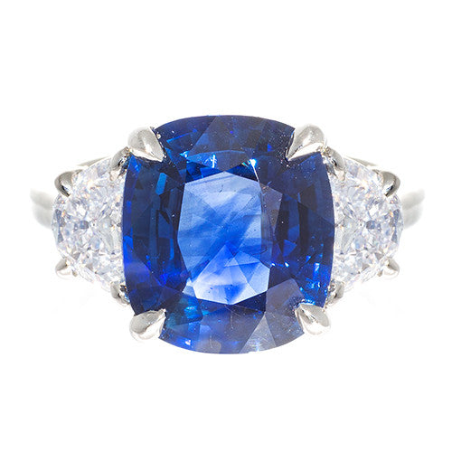 Platinum Cushion Cut Sapphire and Half Moon Diamonds
