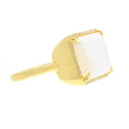 14kt Yellow Gold Moonstone Bar Ring With Diamonds