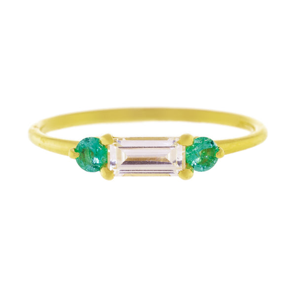14KT YG Maddox Ring White Sapphire and Emerald Ring