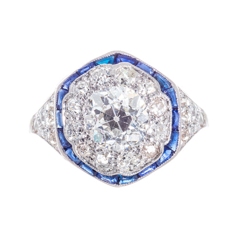 Estate Platinum Old Mine cut Diamond with Sapphires