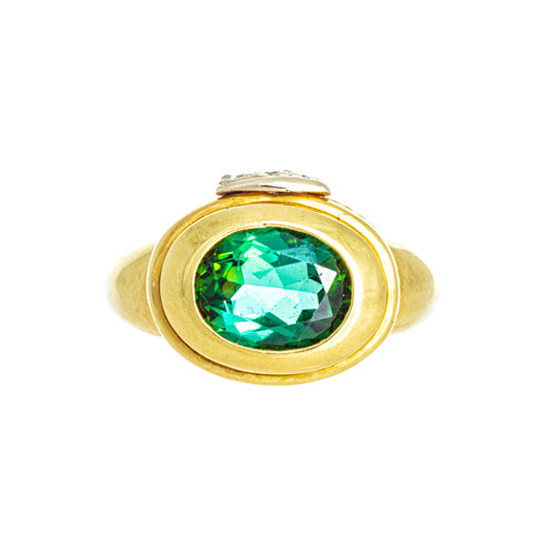 Estate 18kt Yellow Gold Oval Tourmaline Ring with Diamonds
