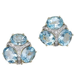 14kt Yellow Gold and Diamond Blue Topaz Earrings