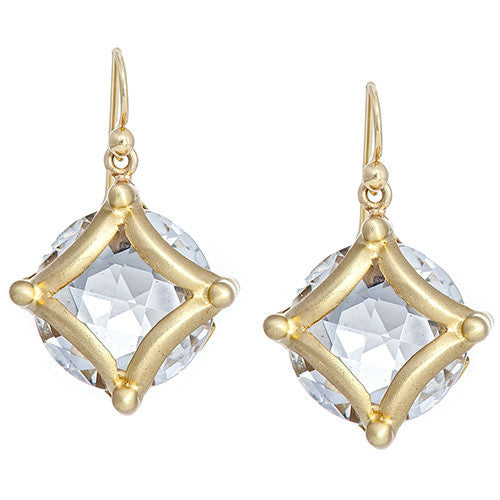 18 kt Yellow Gold & White Topaz Earrings