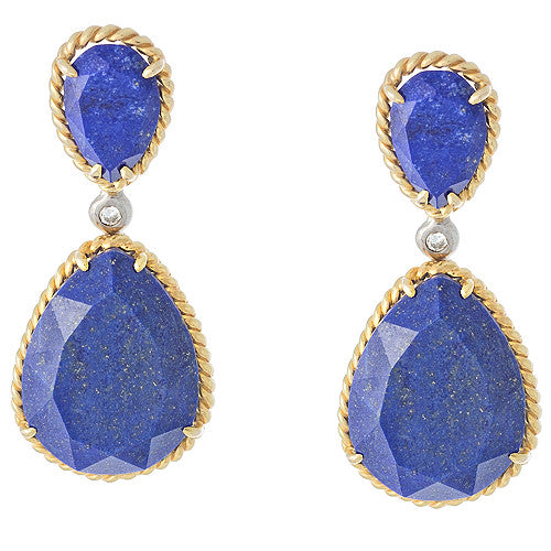 14kt Yellow Gold Earrings with Natural Lapis